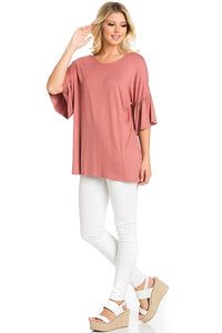 Ruffle Sleeve Tunic - Dusty Rose