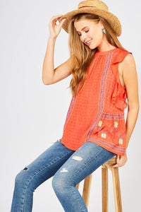 Tomato Dotted Embroidered Top