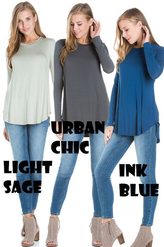 Azules Solid Color Tops- Oatmeal, Dark Mustard, Fuchsia, Light Sage, and Teal Aqua