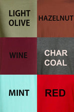 Azules Solid Color Tops- White, Black, Rust, Olive, Ivory, Hunter Green, Charcoal, Oatmeal, Navy, Wine, Mustard, Grey, Eggplant, Brown