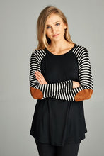 Black Stripe Raglan Elbow Patch Top