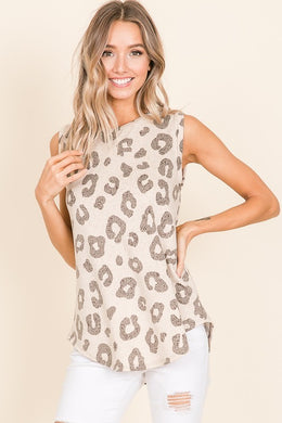 Beige Animal Print Sleeveless Top