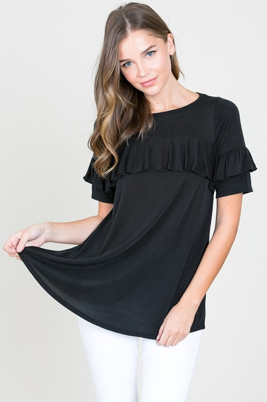 Black Ruffle Cupro Top