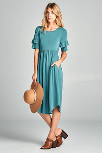 Empire Waist Dress in Teal
