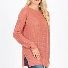 Waffle Sweater (Ash Rose, Eggplant, Coral, Lt. Grey, Lt Green)