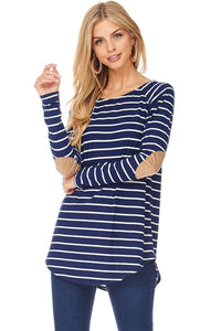 Navy/Ivory Striped Top