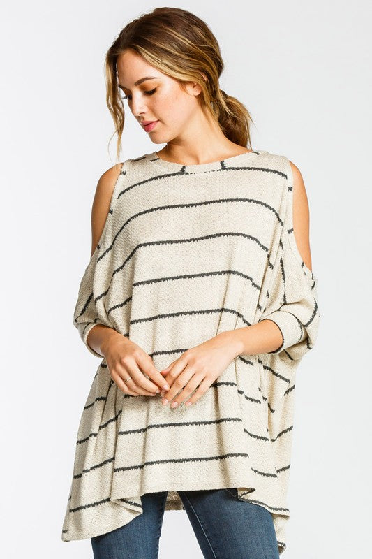 Black and Taupe Striped Knit Cold Shoulder Top