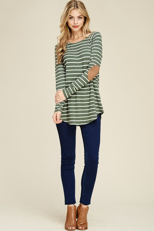 Olive/ Ivory Striped Top