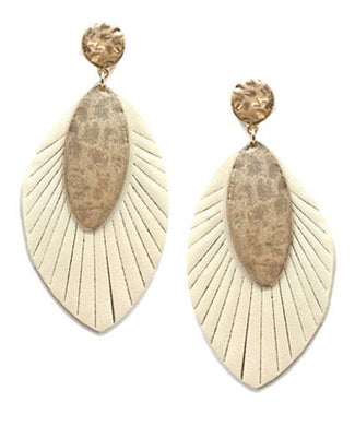 Leather Cut Marquise and Disc Earrings - Ivory and Black