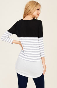 Black/Ivory Striped Colorway Top