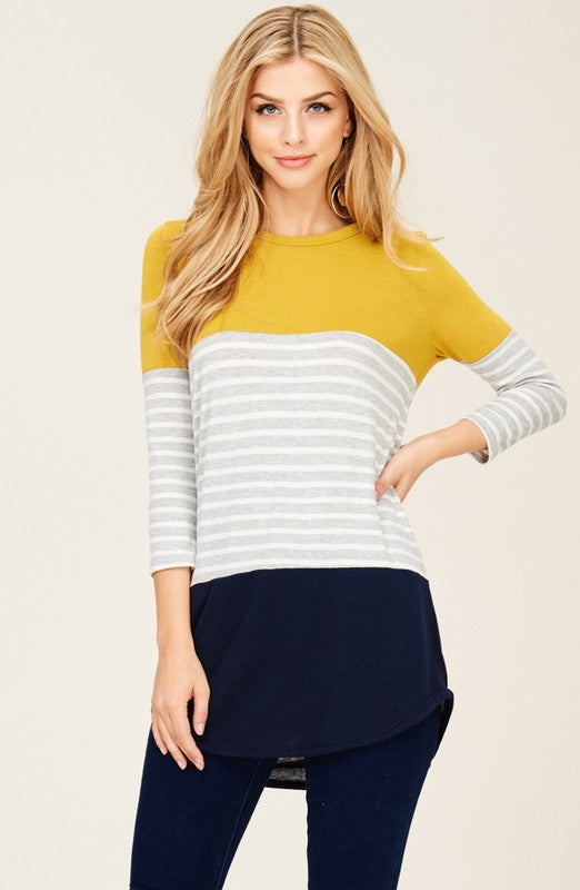Mustard/Navy Striped Colorway Top