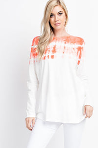 Orange and White Tie Dyed Long Sleeve Cotton Jersey Top