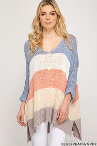 Hi Low Blue/Peach/Grey Striped Sweater