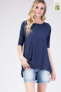 Navy Bamboo Ruffle Hem High and Low Tunic Top