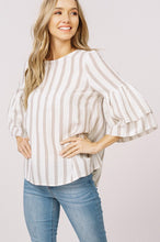 Taupe Striped Double Layered Sleeve Top