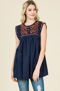Embroidered Detail Navy Top