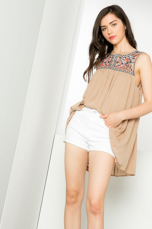 Sleeveless Embroidered Yoke Top