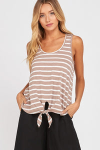 Sleeveless Striped Front Tie Top