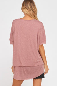 Mauve Jersey Knit Top