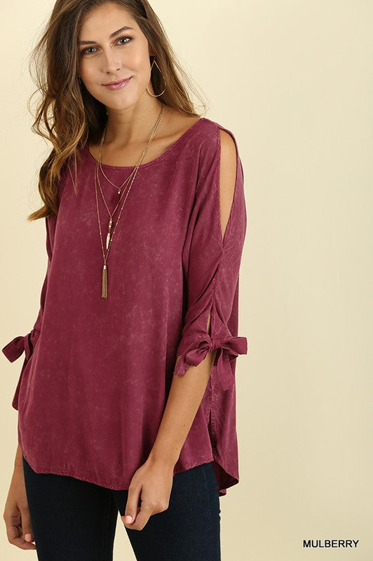 Mulberry Washed Cold Shoulder Top