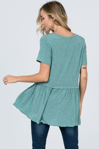 Mint Ruffle Bottom Top