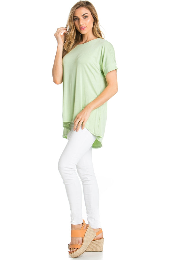 Pleated-back Hi/Lo Top - Celery