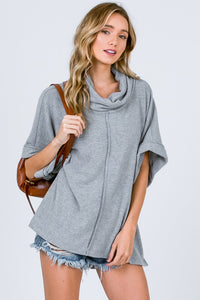 Brushed Rib Cowl Neck Top