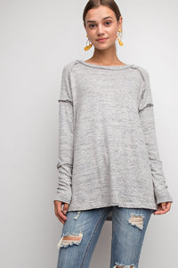 Heather Grey Brushed Hacci Knit Top