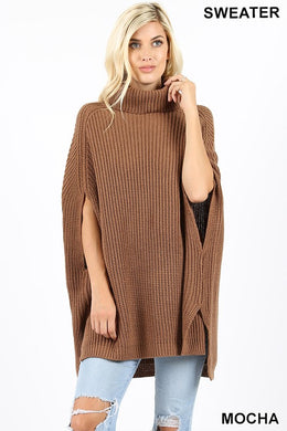 Turtle Neck Poncho Sweater (Mocha and Black)