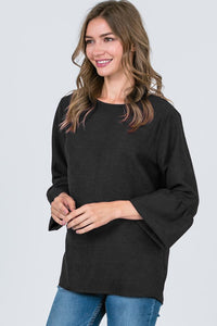 Black Ruffle Sleeve Top with Button Up Back