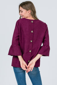 Magenta Ruffle Sleeve Top with Button Up Back
