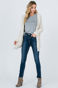 Ivory Soft Popcorn Sweater Cardigan