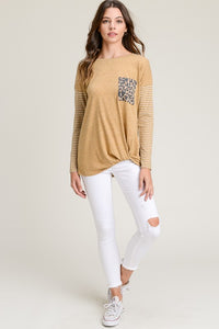 Mustard Top with Striped Long Sleeves with a Leopard Pocket