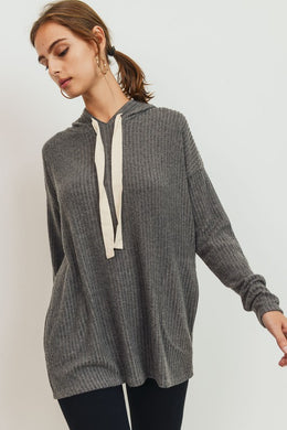 Charcoal Brushed Ribbed Knit Hoodie Top