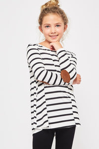 Kids Ivory/Black Striped Top