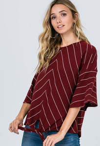 Striped Top in Burgundy