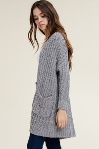 Soft Popcorn Sweater Cardigan (Grey, Dark Grey, and Taupe) (Pre-order)