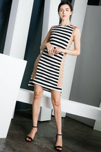 Striped Dress with Suede Side Panel