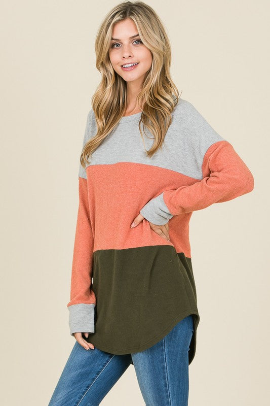 Grey/Rust/Olive Color Block Top