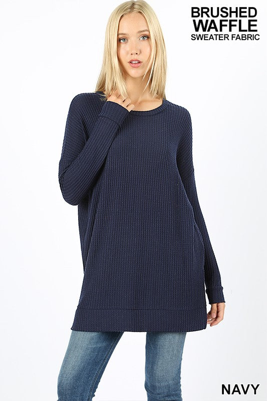 Navy Brushed Thermal Waffle Tunic
