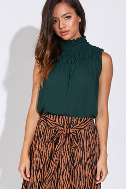 Hunter Green Sleeveless Chiffon Top
