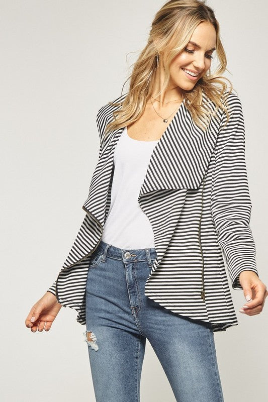 Black and White Striped Jacket