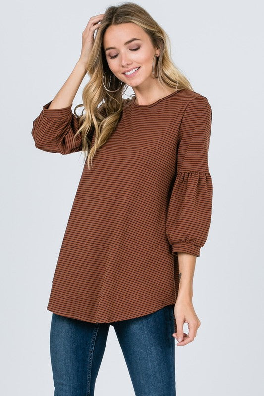 Camel Striped Top