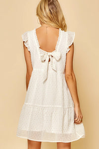 Ivory Flutter Sleeve Dress
