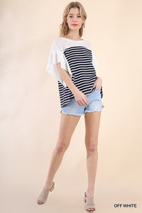 Navy Striped Patchwork Top