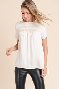 Ruffle Neck Top with Lace Back