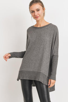 Charcoal Brushed Knit Boxy Top