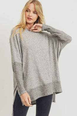 Heather Grey Brushed Knit Boxy Top