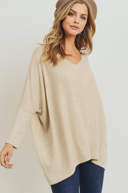 Oatmeal V-Neck Boxy Brushed Top