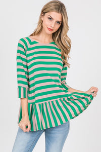 Two Tone Striped Top